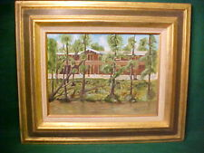 """VINTAGE OIL PAINTING OF LARGE RESORT HOME ON RIVER BY McALLEN DATED """"77"""""""
