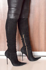A Diagi high heels pointy toe stretch suede stiletto boots 37