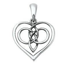 New Celtic Heart Eternal Knot Sterling Silver Pendant