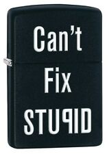 Zippo 28664, Can't Fix Stupid, Black Matte Finish Lighter, Full Size