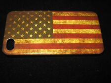 USA Cover Case for iPhone 4 4s American Flag Vintage Look on Black Case