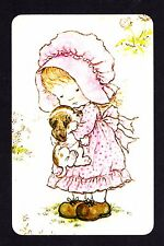 SARAH KAY Swap Card - Pretty Girl  with Puppy (BLANK BACK)