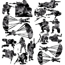 Soldier Black Camo Pack of 18 Wall Stickers Soldiers Army Soldiers Decals