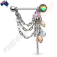 Pair Of 316 Surgical Steel Chain Dangle with Fake Pearl & Flower Nipple Shield