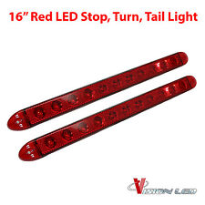 "TWO - 16"" Low Profile Red LED Stop Turn Tail Lights RV Trailer Truck LIFETIME"