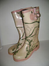 REAL TREE GIRL Size 6 M  WOMEN RAIN TALL BOOTS SHOES PINK GREEN RUBBER CUTE