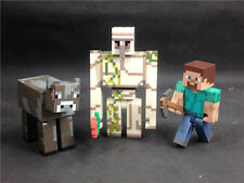3x MINECRAFT Overworld Iron Golem Steve Cow loose hot item TM