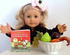 """Thanksgiving Fruit Bowl & Mini Book for American Girl Doll 18"""" Accessories SET"""