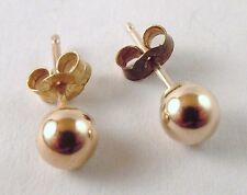 100% Genuine Vintage 9ct. Hollow Yellow Gold Ball Stud Earrings.