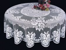 "Heritage Lace VICTORIAN ROSE White Round Tablecloth  72"" Round"