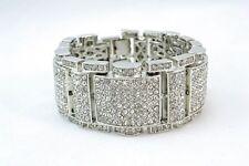 Men's SILVER Plated Fancy Iced Out Cubic Zirconia Wrist Bracelet BLING w35mm L8.
