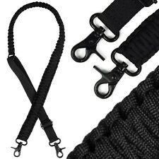 Adjustable Paracord Rifle Gun Sling Strap Dual Point With 360 Swivels Black