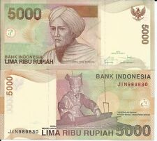 INDONESIA 5000 RUPIAS 2016 LOTE DE 5 BILLETES