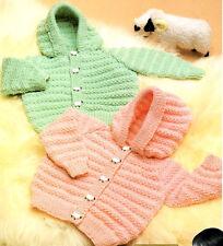 """Baby Hoodie Jacket Hood DK 18 - 24"""" Vintage  Knitting Pattern"""