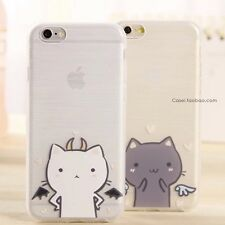 Cute Kawaii iPhone 6/6S Black Angel Wing Cat Kitten Bendable Soft Case