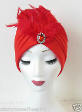 Rojo Pluma Plata Diamante Turbante Casco Flapper Vintage Cloche 1920 N54