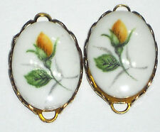 Vintage Connectors Findings Flower Drops Charms Oval Roses NOS Yellow #1106b