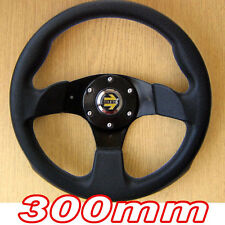 Sports Steering Wheel 300mm - Black 3 Spoke PU Leather Imitation 30cm