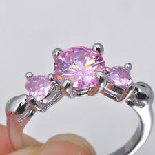 Pink Sapphire 10KT White Gold Filled Engagement Ring Size 6 Jewelry Fashion Gift