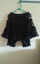 Sexy Halloween Adult Women's Black Lacy short skirt with bloomers,Costume, witch