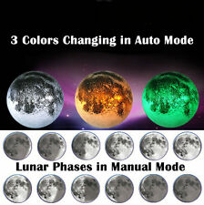 Healing Moon 3 Color Changing LED Wall Hanging Night Light Lamp Remote Control