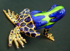 Glass FROG Toad Shiny Orange Blue Green Blown Glass Animal Glass Ornament Gift