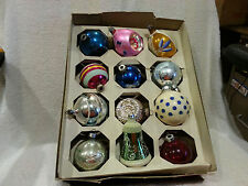 VINTAGE MERCURY GLASS CHRISTMAS ORNAMENTS  LOT OF 12) Stenciled teardrop