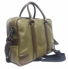 $1,995 Burberry Olive London Calf Leather Holdall Messenger Briefcase Men Gift