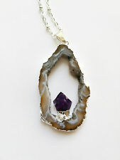 Amethyst Agate Slice Necklace Geode Silver Dipped Crystal Pendant NEW Natural