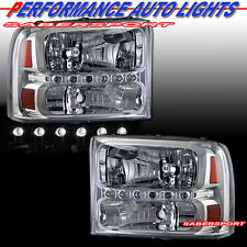 99-04 FORD F250 F350 SUPERDUTY EXCURSION CHROME HEADLIGHTS w/ LED 1PC STYLE PAIR