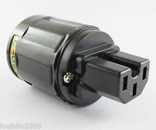 1x High Quality Pure Copper C-029 US Power Female IEC Connector for Audio Black
