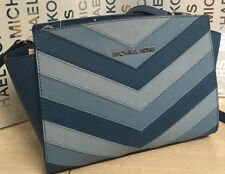 NEW Michael Kors MD Selma Chevron Sky Blue Saffiano Leather Crossbody Handbag