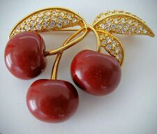 JOAN RIVERS Rhinestones Red Lucite Cherries Pin/Brooch Cherry