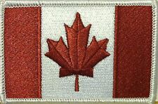 Canada Flag Iron-On Morale Patch Burgundy & White Version White Border #09