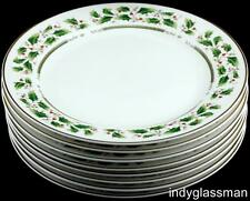 """HOLLY HOLIDAY (China) 10 3/4"""" Dinner Plates GOLD BACK STAMP Unused (Set of 8)"""