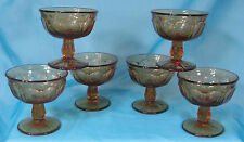 Set of 6 Vintage Amber Glass Dessert Dishes / Bowls