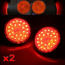 2x Round Reflector RED LED Rear Tail Brake Stop Light Third Toyota COROLLA 12V