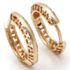Round Circle Hoop Earrings Gold Filled No Stone Womens Gold Earrings
