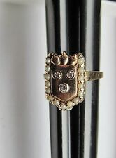 Nice Antique 14k Gold Diamond Seed Pearl Crown Sheld Sz 8.25 Ring 6 Gr Not Scrap
