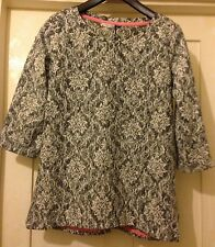 Ladies sz 14 M&S Collection Gorgeous Thick Grey/White Top with Lace Design BNWT