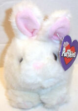Swibco Puffkins LUCKY the White Bunny Rabbit MWT Pink Nose & Ears Plush