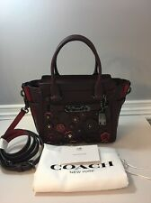 NWD $495 COACH Swagger 21 Willow Floral Glovetanned Leather Oxblood Purple 55523
