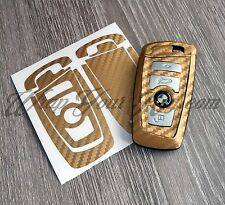 GOLD CARBON Fiber Key Fob Sticker Decal Overlay FITS ALL BMW F SERIES / M Sport