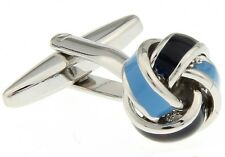 Knot Cufflinks 2 Tone Blue Enamel Wedding Fancy Gift Box Free Ship USA