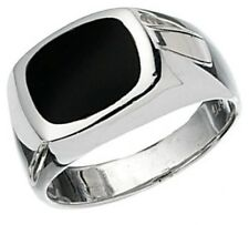 Elements 925 Polished Sterling Silver Men's Black Onyx Signet Ring