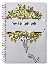 NEW! A5 NOTEBOOK PERSONALISED/50 LINED PAGES/WIRE BOUND A5 NOTEBOOK/ GREEN TREE