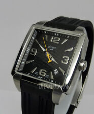Mens Swiss Made Tissot T-Trend Quadrato Monaco Style Square Textured Dial Watch