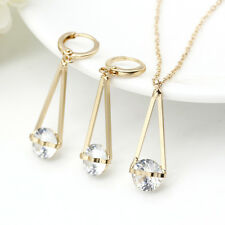 Crystal Dangle 9K Gold Filled Jewelry Set Stylish Nacklace Earrings Celeb Party