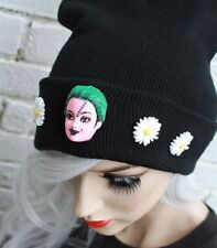 CREEPY BARBIE BLACK BEANIE HAT STREET WEAR PASTEL GOTH CYBER KAWAII INDIE BEANIE