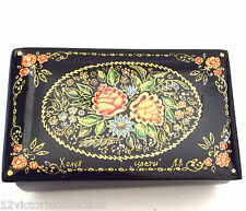 Flowers hand painted Lacquer Box Zhostovo floral motive Russian Style